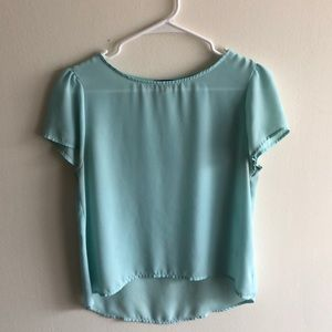 High low light teal blouse with cute sleeves